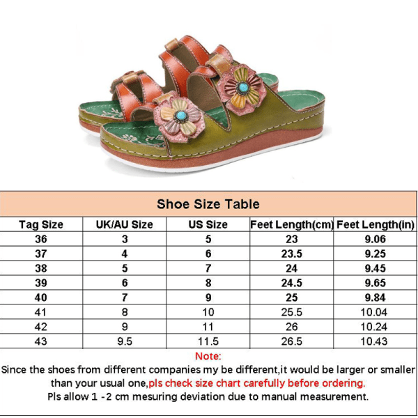 Women's Floral Thick-soled Sandals Open Toe Casual Shoes Green,41