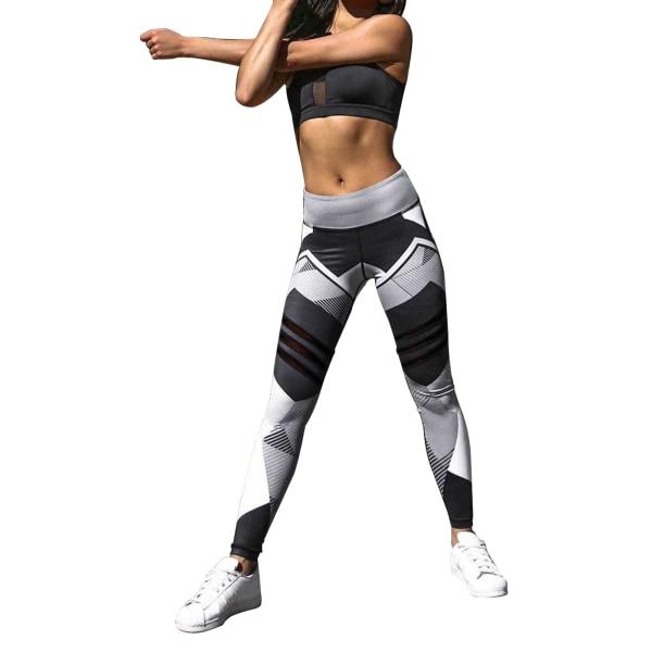 Women's geometric digital printing high waist casual Yoga Pants Gray,XL