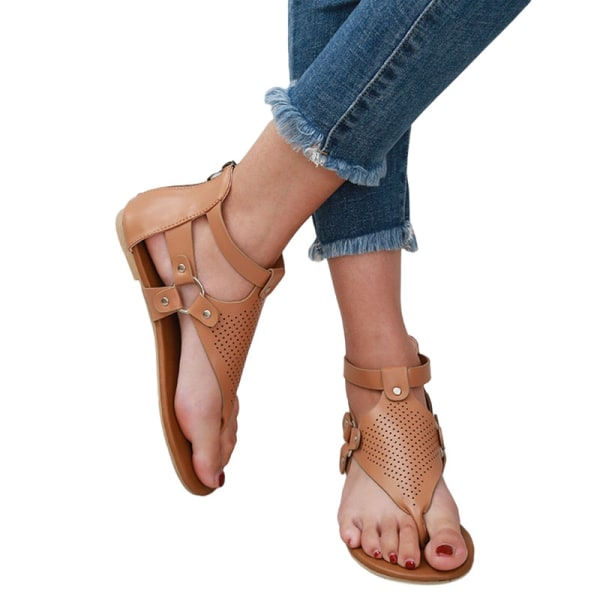 Women's Herringbone Sandals Summer Outdoor Open Toe Beach Shoes Coffee ,35