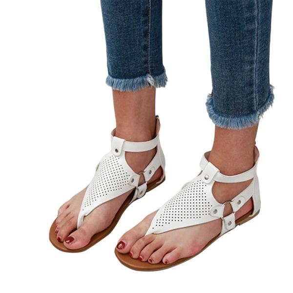 Women's Herringbone Sandals Summer Outdoor Open Toe Beach Shoes White,37