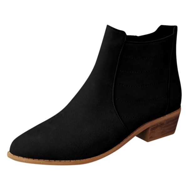 Women's high heels slip on ankle boots chunky Cuban high heels Black,41