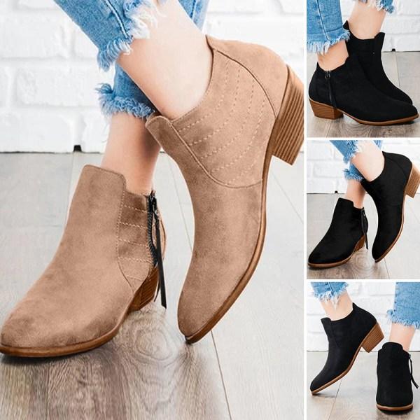 Women's high heels slip on ankle boots chunky Cuban high heels Khaki,43
