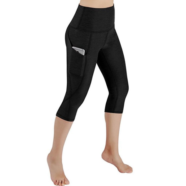 Women's High Waist Yoga Capri Pants Cropped Pants Side Pockets black,M