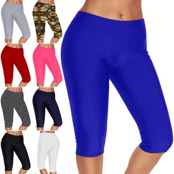 Women's High Waist Yoga Pants Leggings Capri Gym Stretch Pants blue,XL
