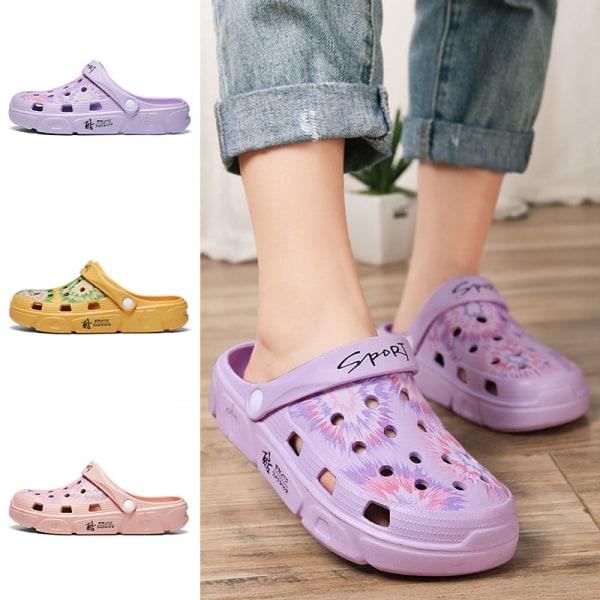 Women's hole slippers beach shoes non-slip mules sports sandals violet,40