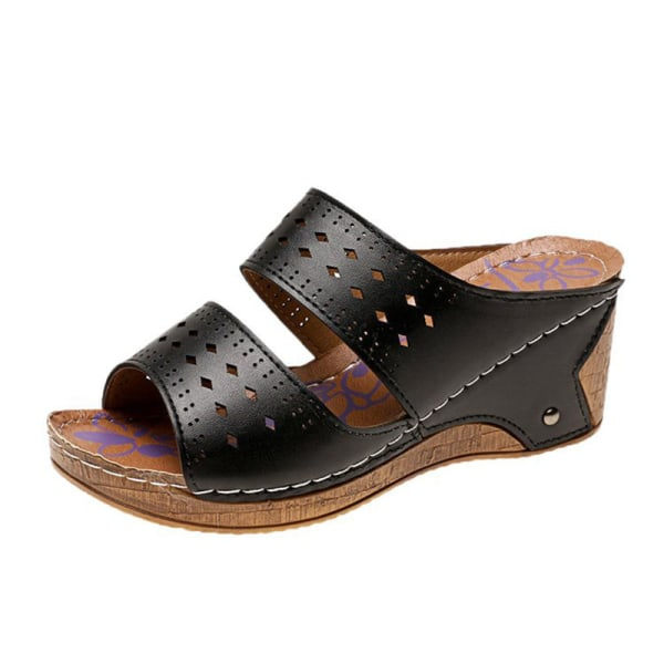 Women's Hollow Open Toe Sandals Fashion Platform Slippers Summer Black,41