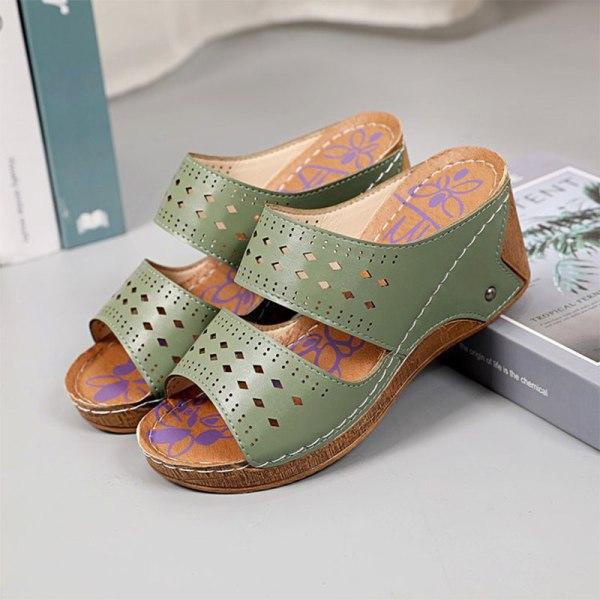 Women's Hollow Open Toe Sandals Fashion Platform Slippers Summer Green,42
