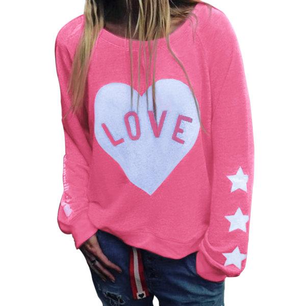 Women's Hooded Sweatshirts Women's Hoodie Tops Pullovers pink,L
