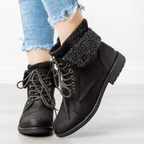 Women's Knitted Winter Block Chunky Heel Booties Lace Up Shoes Black,43