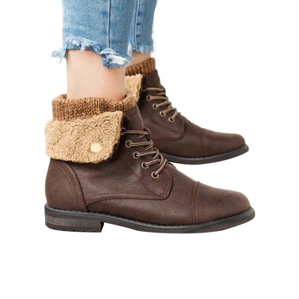 Women's Knitted Winter Block Chunky Heel Booties Lace Up Shoes Brown,40