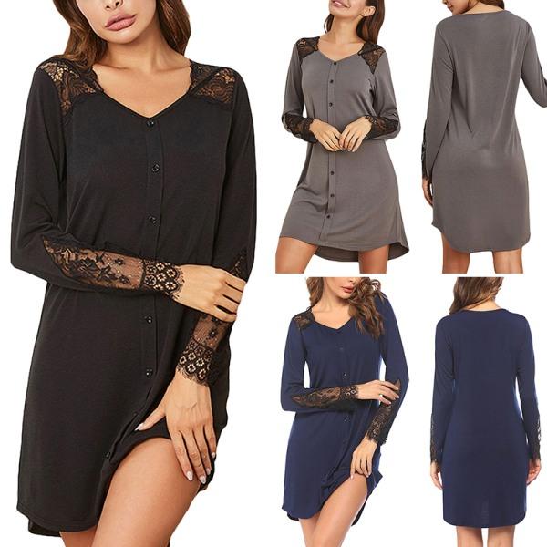 Women's Lace Splicing Nightdress Nightwear Sleepwear Pajamas Gray,S
