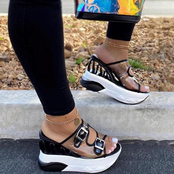 Women's Leather Buckle Strap Platform Wedge Sandals Wedge Heels Black,39