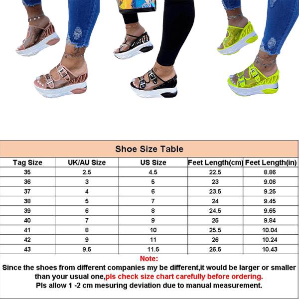 Women's Leather Buckle Strap Platform Wedge Sandals Wedge Heels Fluorescent Green,43