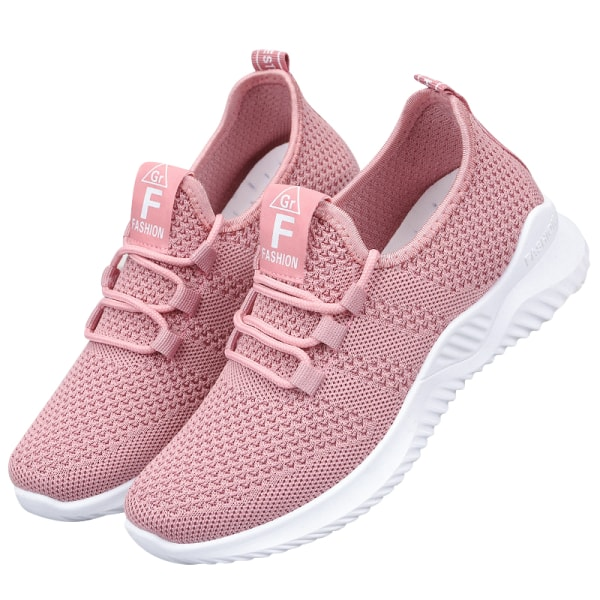Women's Lightweight Soft Sole Running Shoes Solid Color Sneakers Pink,40