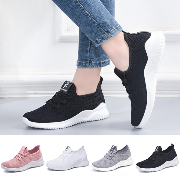 Women's Lightweight Soft Sole Running Shoes Solid Color Sneakers White,40