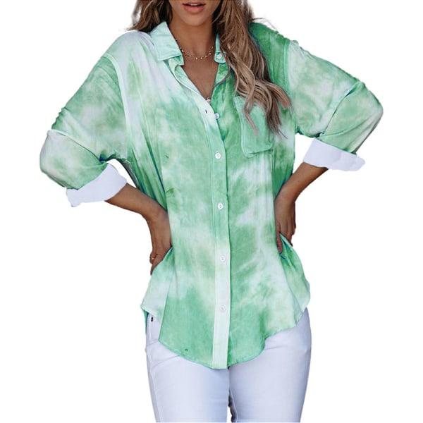 Women's long sleeve shirt loose top casual pullover Green,XL