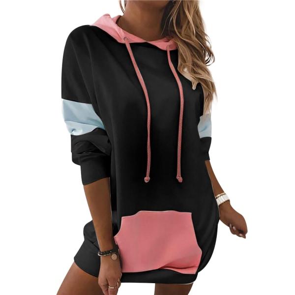 Women's Loose Hooded Sweater Pocket Dress Long Sleeve Loose Top Black,M