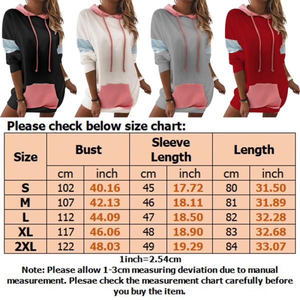 Women's Loose Hooded Sweater Pocket Dress Long Sleeve Loose Top Gray,S