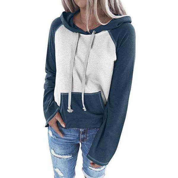 Women's Loose Hoodie Hooded Sweater Sweatshirt Long Sleeve Top Dark blue,XL