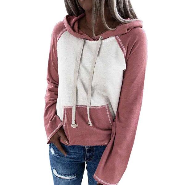 Women's Loose Hoodie Hooded Sweater Sweatshirt Long Sleeve Top Pink,M