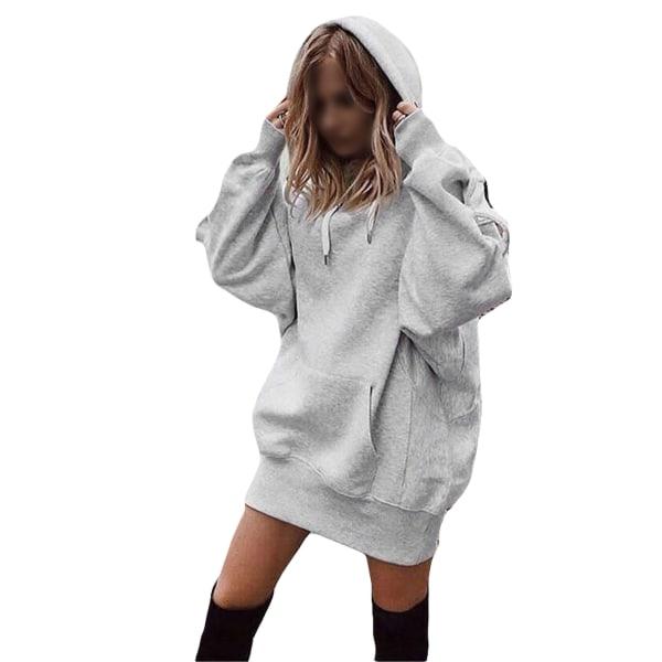 Women's Loose Sweatshirt Ladies Top Hoodie T-shirt Gray,L