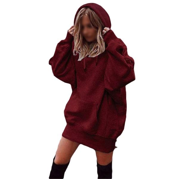 Women's Loose Sweatshirt Ladies Top Hoodie T-shirt red wine,XL