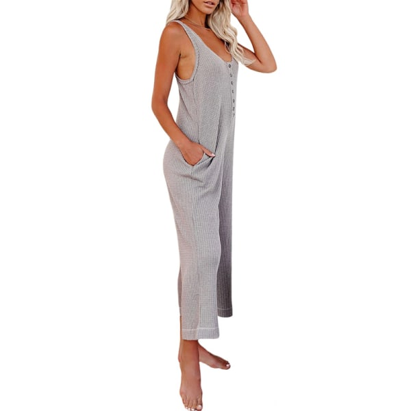 Women'S Loose Wide Leg Buttons Pocket Trousers Overalls Bodysuit Gray,M