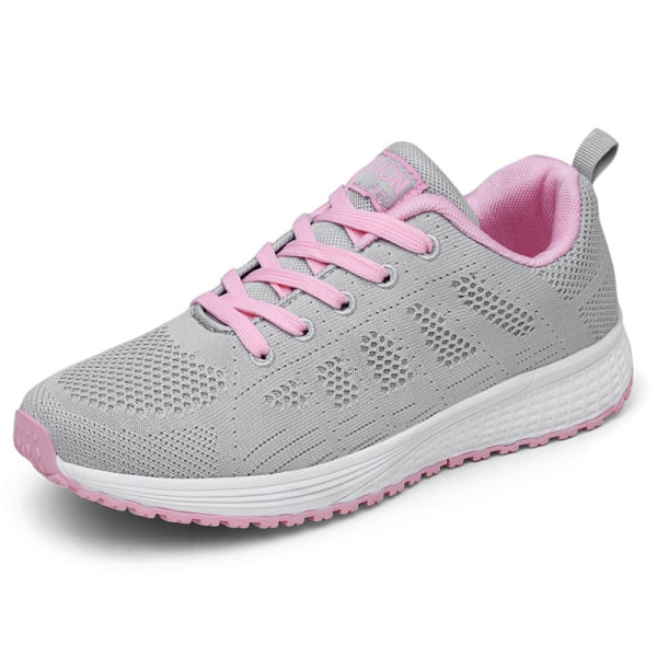 Women's Mesh Running Sneakers Breathable Casual Athletic Shoes Gray Pink,39