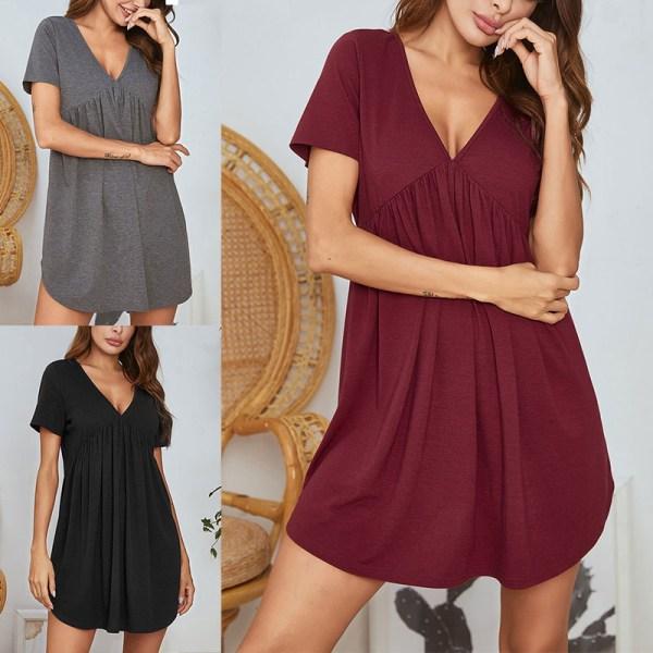 Women's Nightdress Short Sleeve V Neck Dress Nightwear Pajamas Red,XL