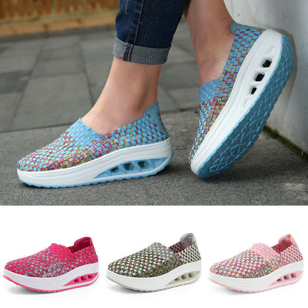 Women's outdoor walking sneakers mesh breathable casual shoes Blue ,35