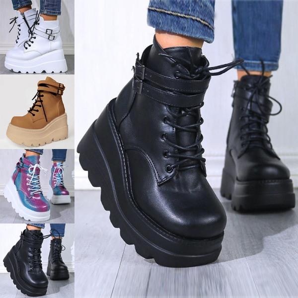Women's platform shoes platform high-top casual shoes black,40