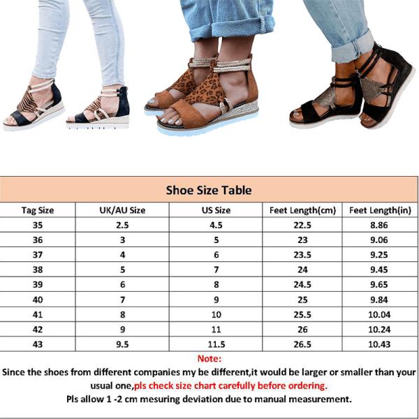 Women's Platform Wedge Heel Sandals Summer Viscose Shoes Black,41