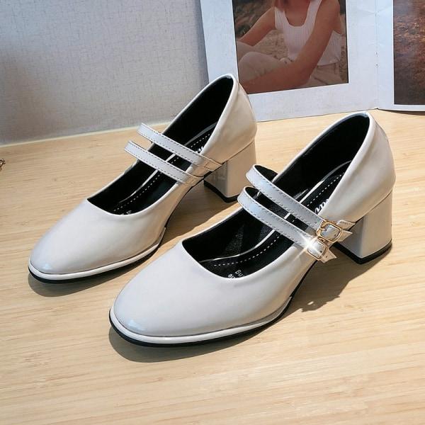 Women's Pumps Buckle Shoes Chunky Solid Color Party Dance Shoes Beige,40