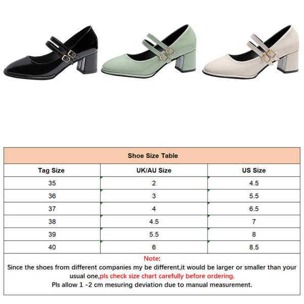 Women's Pumps Buckle Shoes Chunky Solid Color Party Dance Shoes Black,40