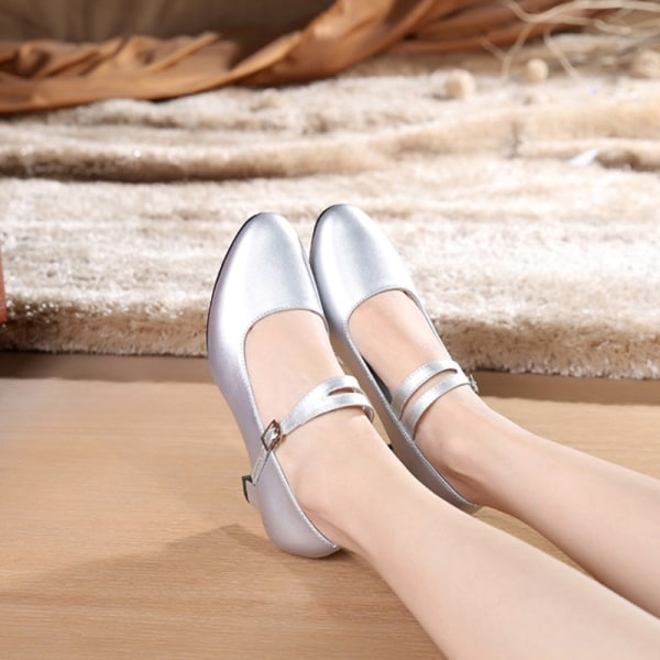 Women's Pumps Chunky Block Mid Heels Round Toe Party Dance Shoes Silver,35