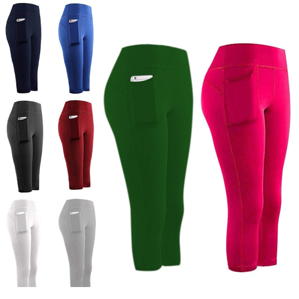 Women'S Quick-Drying Pocket Yoga Exercise Five-Point Pants Black,XL