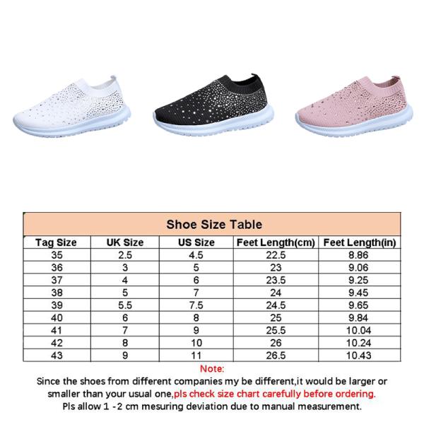 Women's Rhinestone Loafers Slip On Flat Platform Sock Sneakers White,36