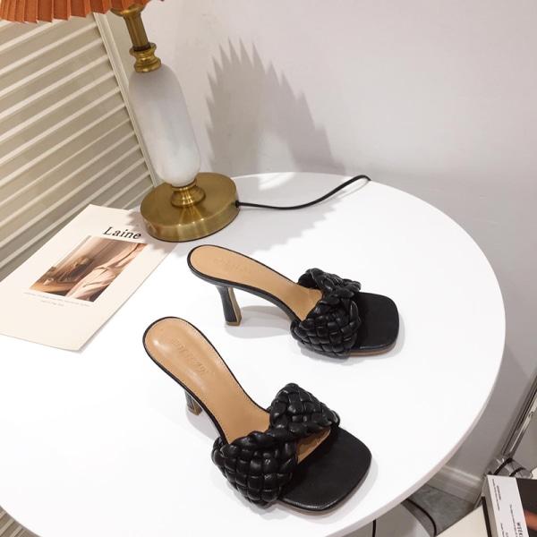 Women's Sandals Fashion Slippers High Heels Open Toe Slippers Black,35
