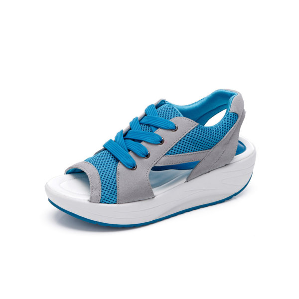 Women's sandals open toe breathable shoes lace-up sneakers blue,42