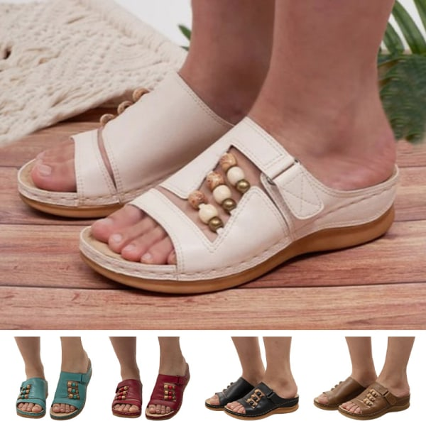 Women's Sandals Wedge High Heels Slippers Beaded Decoration White,41