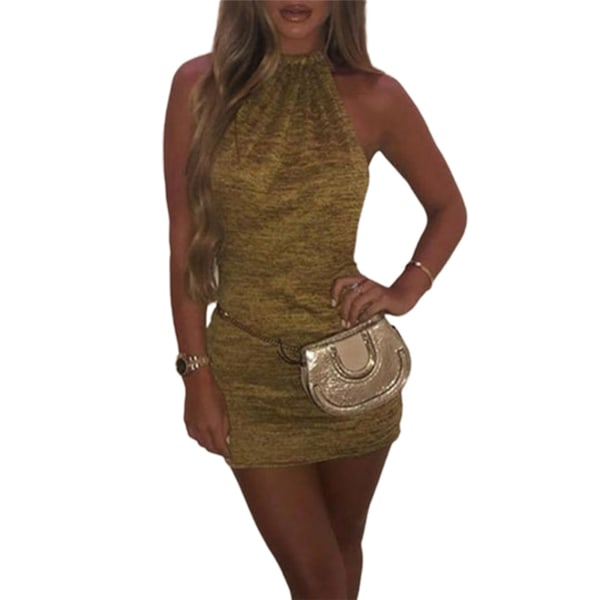 Women's Sexy Halterneck Knit Dress Golden,L