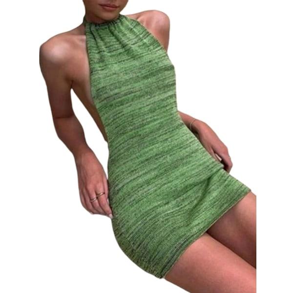 Women's Sexy Halterneck Knit Dress Green,M