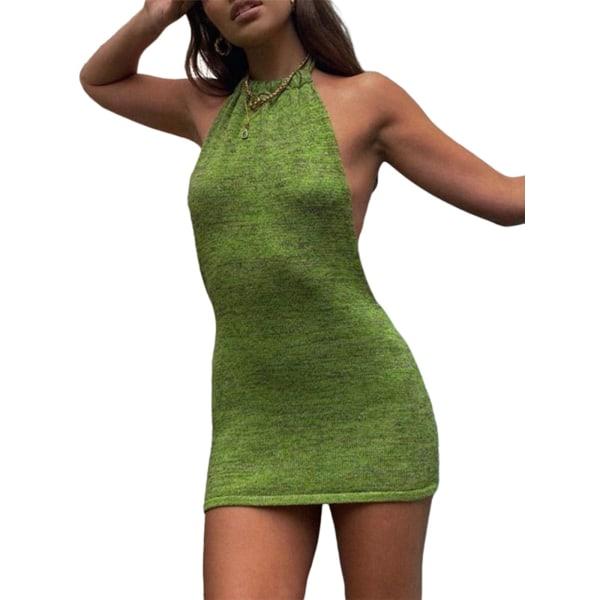 Women's Sexy Halterneck Knit Dress Green,S