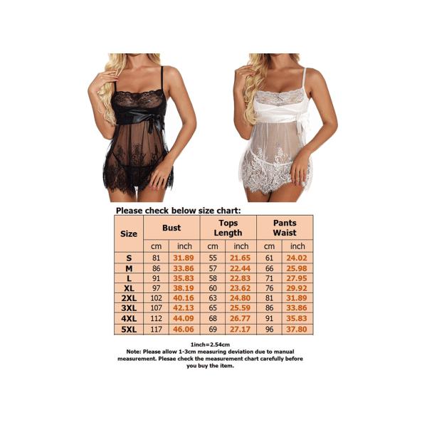 Women's sexy lace nightdress see-through pajamas underwear black,M