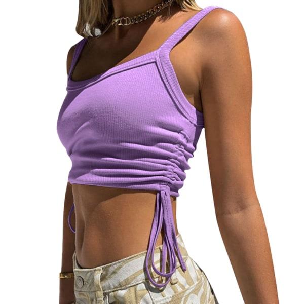 Women's Sexy Vest Knitted Vest Summer Adjustable T-shirt Top Purple,M