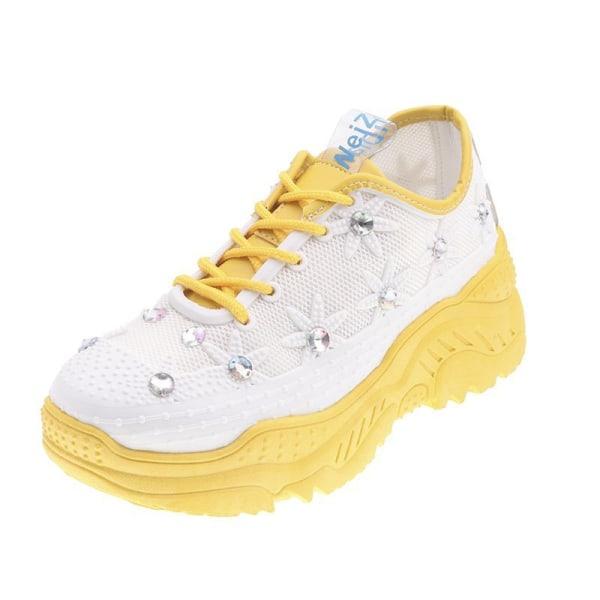 Women's Sneakers Diamond Mesh Platform Shoes Fitness Running Yellow,41