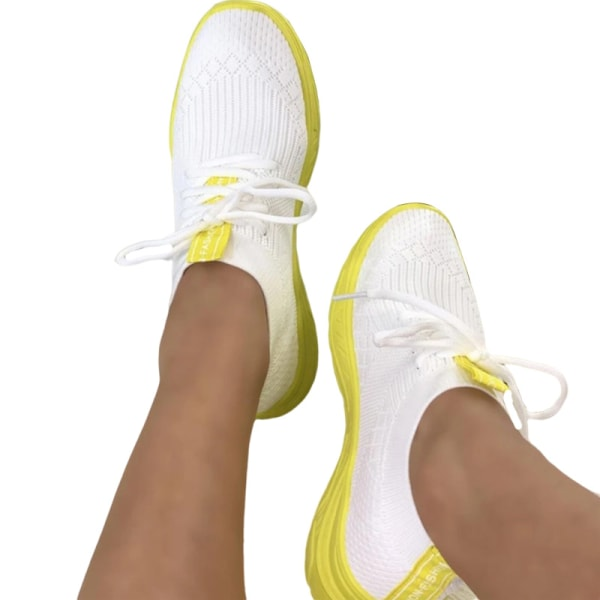 Women's Sneakers Lightweight Casual Breathable Soft Sole Shoes Yellow,38