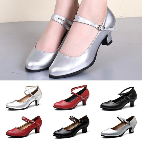 Women's soft sole sandals solid color breathable high heels Black Single belt 3.5cm,39