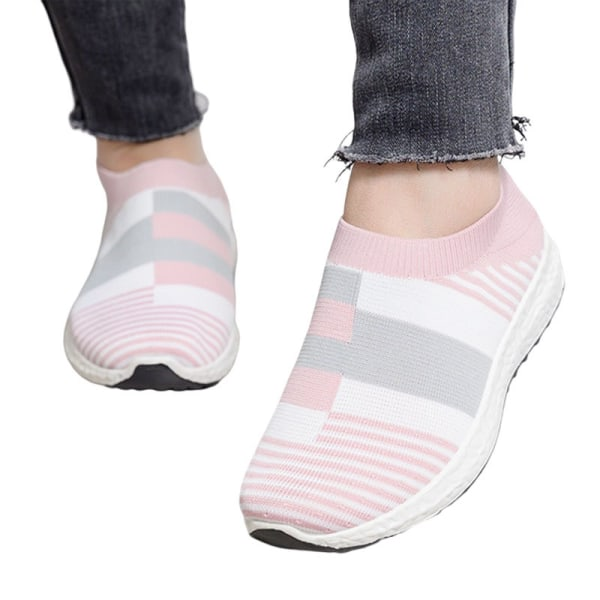 Women's soft-soled sneakers summer comfortable socks shoes Pink,37