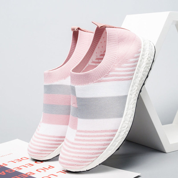 Women's soft-soled sneakers summer comfortable socks shoes Pink,39